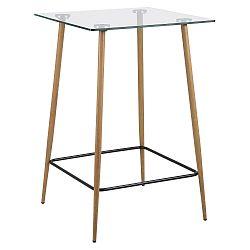 Skleněný barový stůl 70x70 cm s kovovou podnoží dubového vzhledu DO182