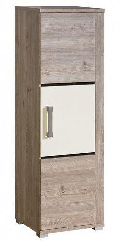 Skříňka v barvě dub nelson v kombinaci s perlovým leskem typ V5 pravá KN601