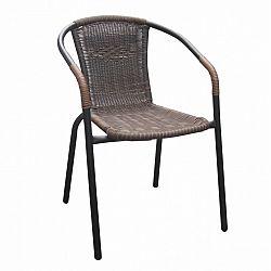 Stohovatelná židle z hnědého ratanu na kovových nohách TK2062