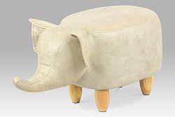 Taburet látkový ve tvaru slona v béžové barvě TAB-202