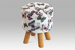 Taburet v bílé barvě s motýlky LA203 AKCE