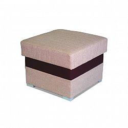 Taburetka, sedačka světle hnědé barvy s čokoládovou ekokůží ROSANA