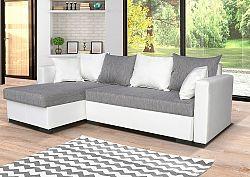 Univerzální sedací souprava v kombinaci bílé a šedé barvy s bílými a šedými polštáři F1281
