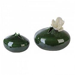 Váza keramická Manau, 18 cm, zelená