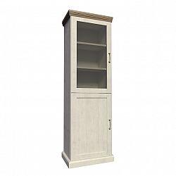 Vitrína dvoudveřová s prosklenými dveřmi nordická bílá borovice ROYAL W1D