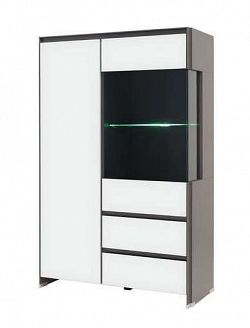 Vitrína FINI REG1W1D2S/14/9 šedý volfram/bílý mat s LED osvětlením