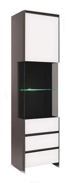 Vitrína FINI REG1W2S/20/5I šedý volfram/bílý mat s LED osvětlením