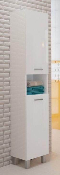 Vysoká koupelnová skříňka z lamina v provedení bílý lesk 30 cm F1297