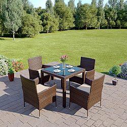 Zahradní set 4+1 z umělého ratanu v kombinaci hnědá a krémová TK3062