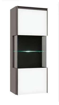 Závěsná vitrína FINI SFW1W/12/5 šedý volfram/bílý mat s LED osvětlením