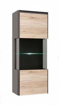 Závěsná vitrína FINI SFW1W/12/5 šedý volfram/dub san remo světlý s LED osvětlením