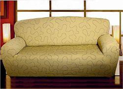 Forbyt, Potah multielastický na sedací soupravu, Lazos, béžový dvojkřeslo - š. 120 - 160 cm