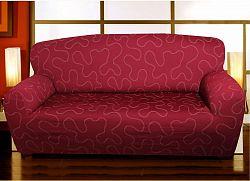 Forbyt, Potah multielastický na sedací soupravu, Lazos, bordový dvojkřeslo - š. 120 - 160 cm