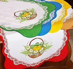Forbyt, Ubrus velikonoční, Košík s kuřátky hnědá 50 x 100 cm