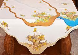 Forbyt, Velikonoční ubrus, Košík a kraslice hnědá 50 x 100 cm