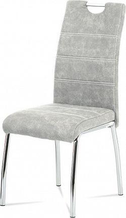 Autronic Jídelní židle HC-486 SIL3 - látka stříbrná COWBOY / chrom