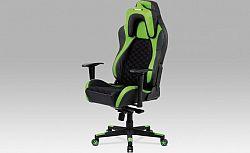 Autronic Kancelářská židle KA-F04 GRN - černá látka MESH / zelená + černá koženka