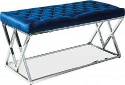 Casarredo Čalouněná lavice ELIXA granátově modrá/chrom