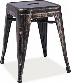 Casarredo Kovový taburet - stolek SPOT černá přetíraná