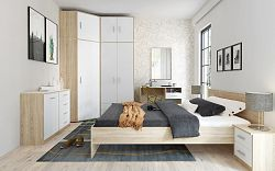 Casarredo Ložnice BODO dub sonoma/bílá (skříň 2D2S, postel 180, 2ks n. stolek)