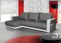 Casarredo Rozkládací rohová sedačka FINEZJA - šedá látka / bílá ekokůže