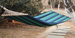 Dimenza Zahradní látková houpací síť s výztuhou - modrá s pruhy