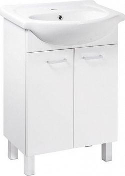 Falco Koupelnová skříňka s umyvadlem Mea D55 2D0S bílý lesk
