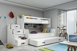 Falco Patrová postel Maty NEW s úložným prostorem bílá/bílá