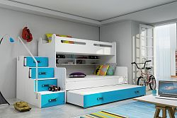 Falco Patrová postel Maty NEW s úložným prostorem bílá/modrá