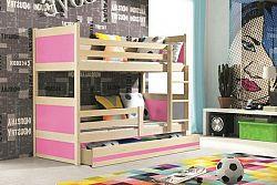 Falco Patrová postel Riky - borovice/růžová