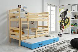 Falco Patrová postel s přistýlkou Norbert borovice/modra