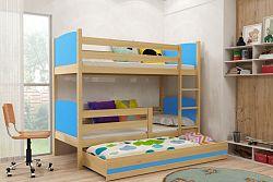 Falco Patrová postel s přistýlkou Tamita borovice/modrá