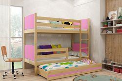 Falco Patrová postel s přistýlkou Tamita borovice/růžová