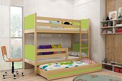 Falco Patrová postel s přistýlkou Tamita borovice/zelená