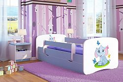 Forclaire Dětská postel se zábranou Ourbaby - Slůně - modrá postel 180 x 80 cm s úložným prostorem