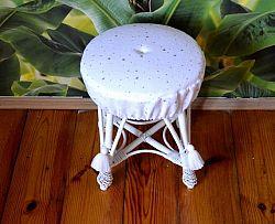 Forclaire Proutěný taburet malý - bílý