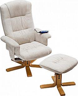 Idea Relaxační masážní křeslo s podnožkou béžové K36