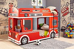 Lubidom Patrová postel London Bus - červena, bíla