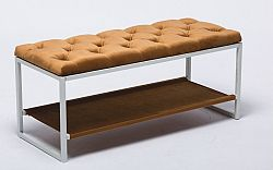 Tempo Kondela Designová lavice, bílý kov / béžová látka 6, Vikar + kupón KONDELA10 na okamžitou slevu 10% (kupón uplatníte v košíku)