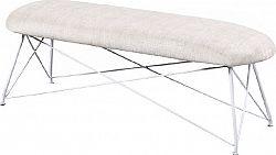 Tempo Kondela Designová lavice RIVOLA - béžová látka, bílý kov + kupón KONDELA10 na okamžitou slevu 3% (kupón uplatníte v košíku)