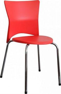 Tempo Kondela Jídelní židle BRISA - chrom + červený plast