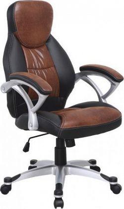 Tempo Kondela Kancelářská židle ICARUS - hnědá ekokůže + černá / plast, + kupón KONDELA10 na okamžitou slevu 10% (kupón uplatníte v košíku)
