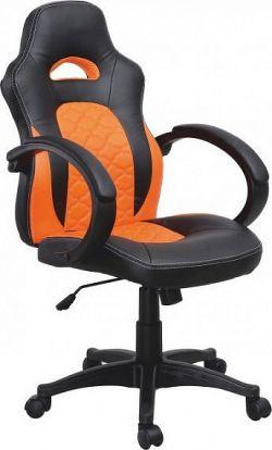 Tempo Kondela Kancelářské křeslo NELSON - černá ekokůže / oranžová ekokůže + kupón KONDELA10 na okamžitou slevu 10% (kupón uplatníte v košíku)