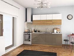 Tempo Kondela Kuchyňská linka SERGIO - bílý lesk/světlý ořech/cobalt šedý lesk + kupón KONDELA10 na okamžitou slevu 10% (kupón uplatníte v košíku)