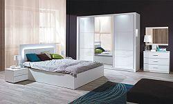 Tempo Kondela Ložnicový komplet ASIENA (skříň+postel 160x200+2 x noční stolek) - bílá / vysoký bílý lesk HG + kupón KONDELA10 na okamžitou slevu 10% (kupón uplatníte v košíku)