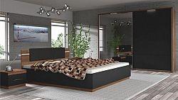 Tempo Kondela Ložnicový komplet Degas (skříň + postel + 2x noční stolek) - ořech / černá + kupón KONDELA10 na okamžitou slevu 10% (kupón uplatníte v košíku)