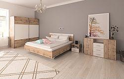 Tempo Kondela Ložnicový komplet (postel 180x200 cm), dub Wotan / bílá, GABRIELA + kupón KONDELA10 na okamžitou slevu 10% (kupón uplatníte v košíku)
