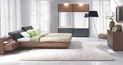 Tempo Kondela Ložnicový komplet (skříň + postel 160x200 s 2 nočními stolky), ořech / grafit, REKATO + kupón KONDELA10 na okamžitou slevu 10% (kupón uplatníte v košíku)