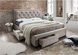Tempo Kondela Manželská postel OREA  - látka šedohnědá + kupón KONDELA10 na okamžitou slevu 10% (kupón uplatníte v košíku)