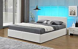 Tempo Kondela Manželská postel s RGB LED osvětlením JADA  - bílá + kupón KONDELA10 na okamžitou slevu 10% (kupón uplatníte v košíku)